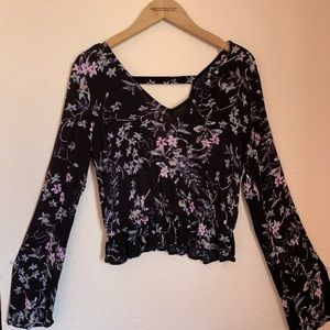 Express floral bell sleeve top